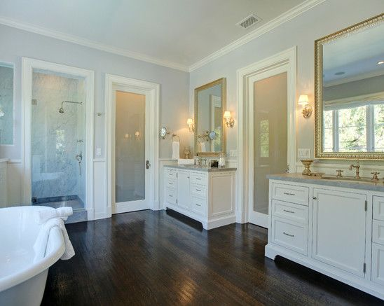 Cool Grey Walls, White Cabinets, Dark Brown Floor