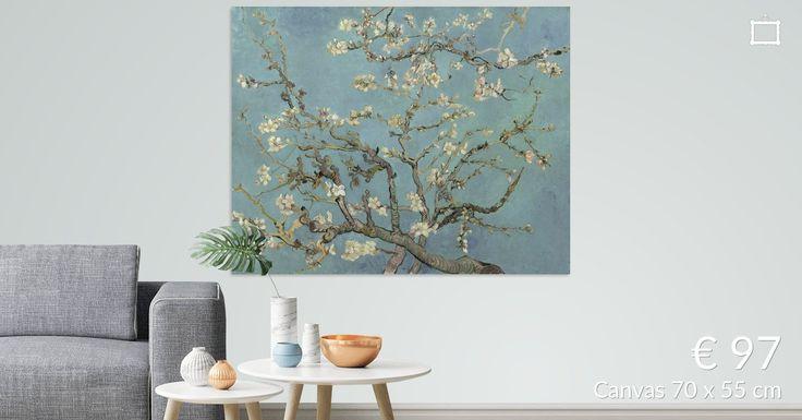 Bestel Amandelbloesem van Vincent van Gogh (zacht blauw/early dew) als print. Kies zelf de maat en het materiaal. Snel geleverd, hoge kwaliteit.