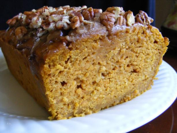 I made this pumpkin bread this evening - Moist Pumpkin Bread from Food.com: VERY MOIST pumpkin bread with special topping. This makes a very nice gift-giving bread. You can make it all year long because it uses a can of 100% pure pumpkin puree. I use Libby's brand. The spices are just right in this recipe and enhance the flavor of the pumpkin. It's best served after it has mellowed for one day. A family favorite.
