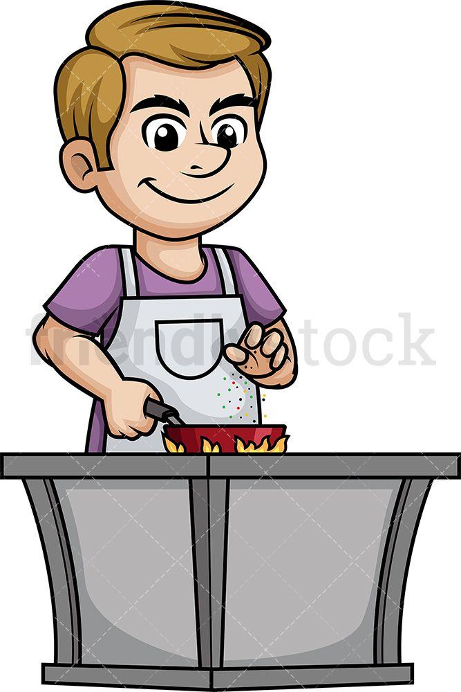 Man Seasoning Food Cartoon Clipart Vector Friendlystock Cartoon Clip Art Vector Illustration Food Cartoon