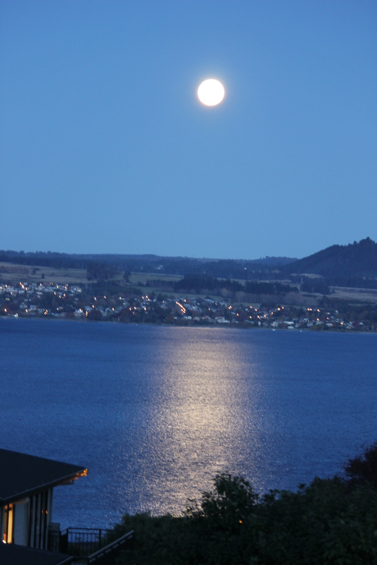The moon over Lake Taupo