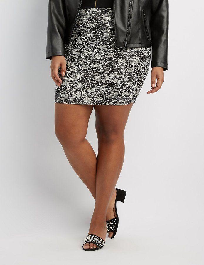 Charlotte Russe Plus Size Lace Print Bodycon Mini Skirt