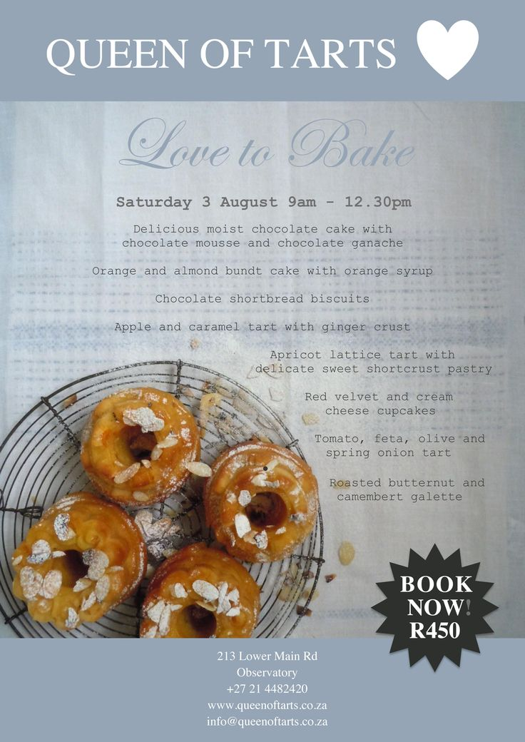 Love to Bake class at Queen of Tarts, Saturday 3 August 9am-12.30pm!
