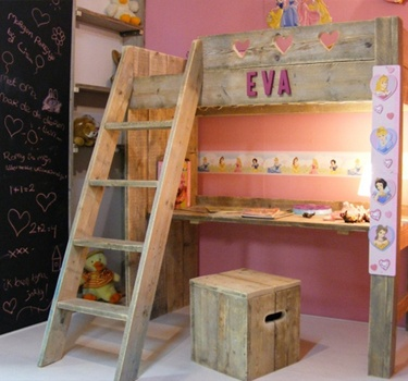 Reclaimed wood loft bed - like the stairs on this one.
