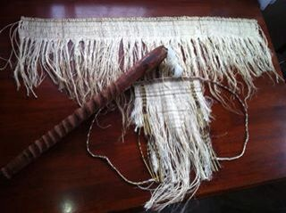 I made the fibre pieces. Top: rapaki -Cape Bottom: maro - worn by men  Wooden pieces is called a pukaea