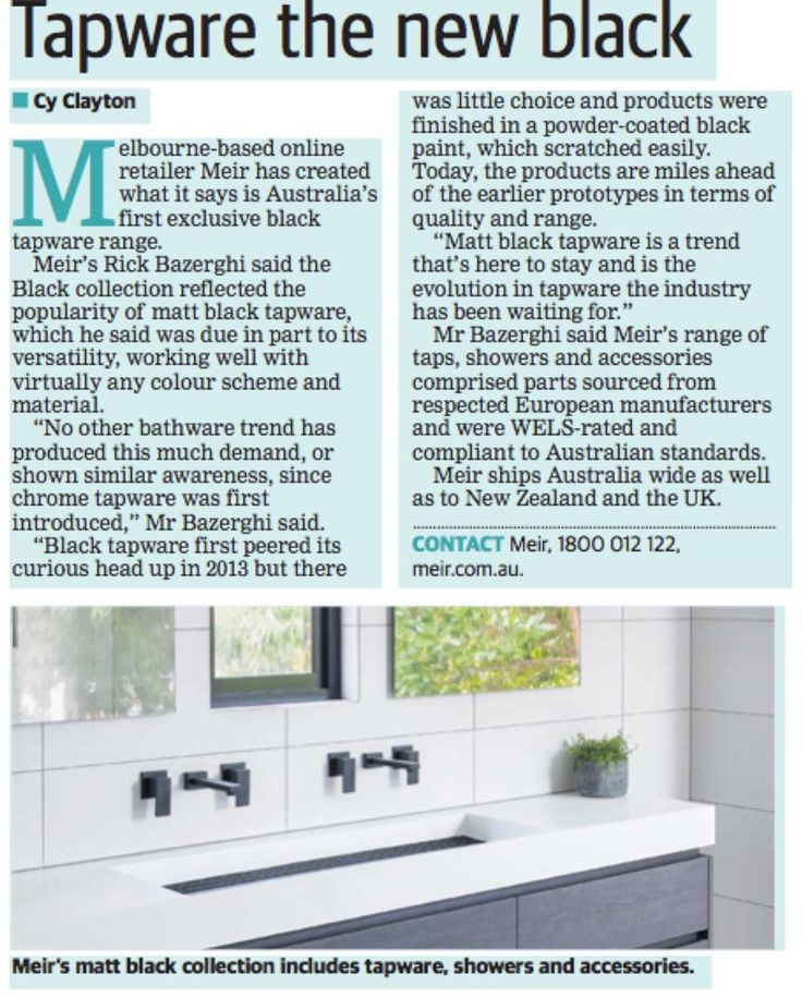 Picking up the kids from school? While you wait, spend the next few minutes on our latest media article in the WA paper today.  #meir #meirblack #MeirAustralia #blackfixtures #blackhardware #blacktapware #blacktapwares #blackwindow #freestandingbath #beautifulview #vanityunit #polishedfloor #concretebasin #australiandesign #bathroominspo #bathroomstyle #bathroomdesign