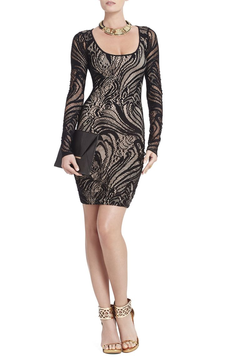 Bcbg black lace dress long sleeve