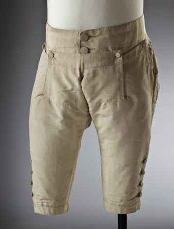 Breeches silk - 18th century - part of a wedding suit. From the Ham House collection, Surrey. Notice the stitching of the flaps (I assume) lining is showing through the silk.  National Trust Images 194062