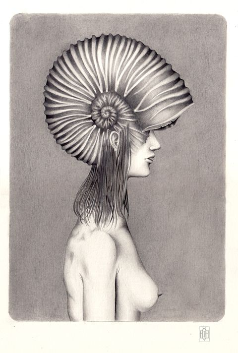 Iakovos Ouranos, Nereide I, mixed media on paper, 2014.   #art #drawing #pencil #ink #paper #iakovosouranos #iakovos #ouranos #portrait #woman #profile #mythology