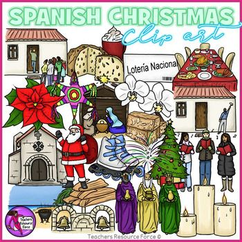 Christmas / Winter in Spain clip art! A 42 piece high quality set of clip art containing a huge variety of different images depicting a traditional Spanish Christmas.Set includes the following images: 3 Kings Beach BBQ Carolers Christmas Dinner Christmas Tree Church Bells Spanish Church Fireworks Knocking on door Lit candles Loteria Nacional Manger Scene Orchid Painting a House Panettone and Hot Chocolate Poinsettia Roller Skates Santa Star Pinata Tamales Turron de NavidadEach image is high…