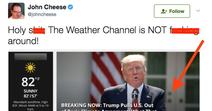 The Weather Channel are roasting Donald Trump with their homepage after his announcement to withdraw from the Paris Agreement.