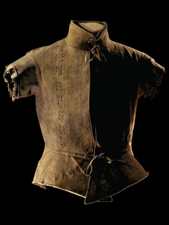 excavation in the city of Groningen in the spring of 1981almost complete, studded leather jerkin. This made of goat leather jerkin is composed of a back along with collar, two front pieces, short sleeves  and a short split skirt  2nd half 16th century