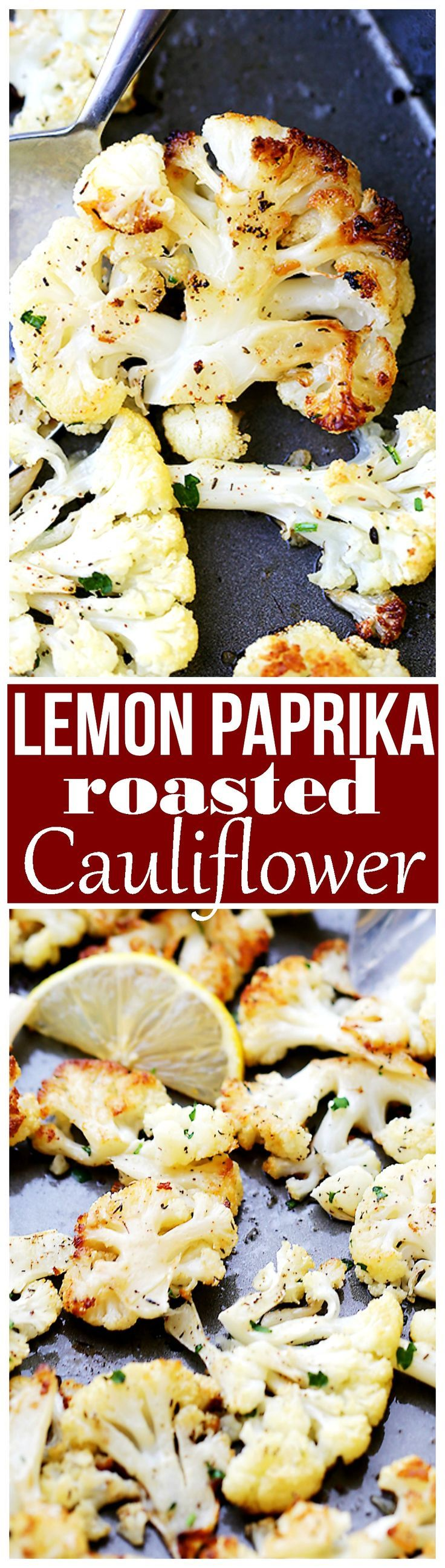 Lemon Paprika Roasted Cauliflower Recipe - Tender roasted cauliflower tossed in olive oil, seasoned with a delicious lemon-paprika mixture, and roasted to a perfect golden brown.: