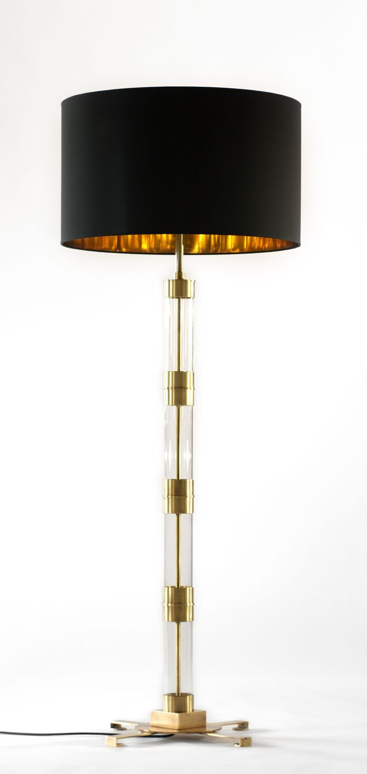 Bb for reschio the cylinder standard lamp a tubular glass and brass plated steel