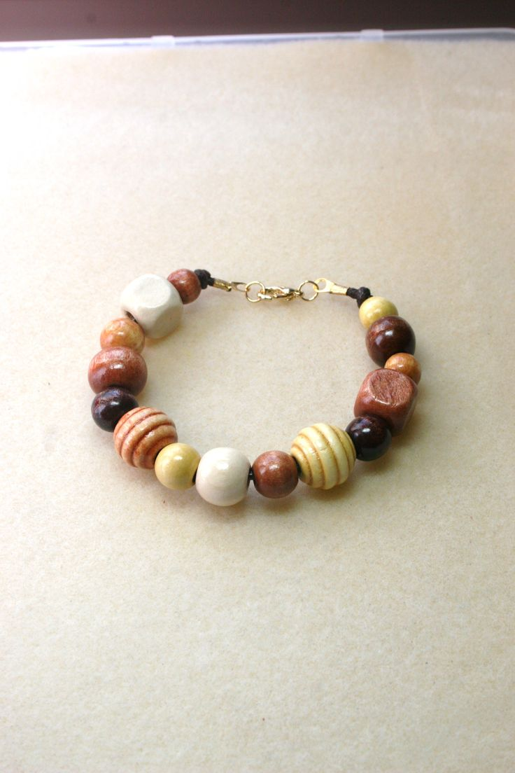 Brown tone wooden beaded bracelet  www.facebook.com/Supposejewellery