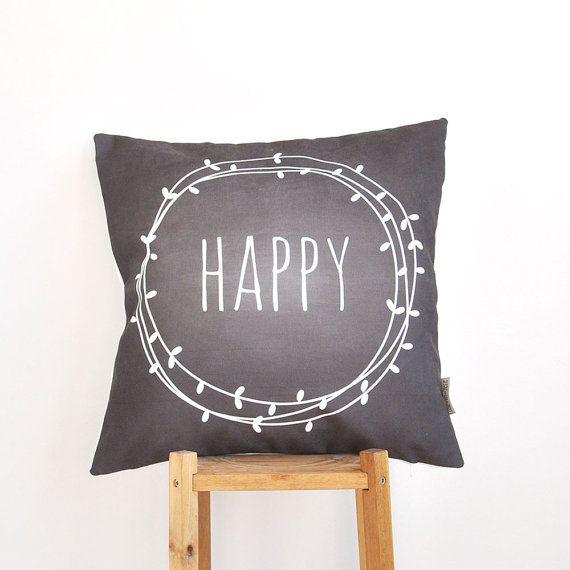 "Happy, Modern Kids Pillows, Decorative Chalkboard Pillow, Teen Pillow, Nursery Pillow, Throw Pillow 16"" x 16"""