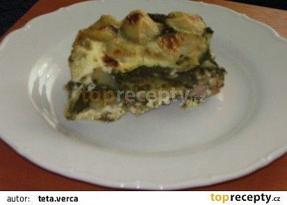 Zapečené brambory s masem, špenátem a smetanou recept - TopRecepty.cz