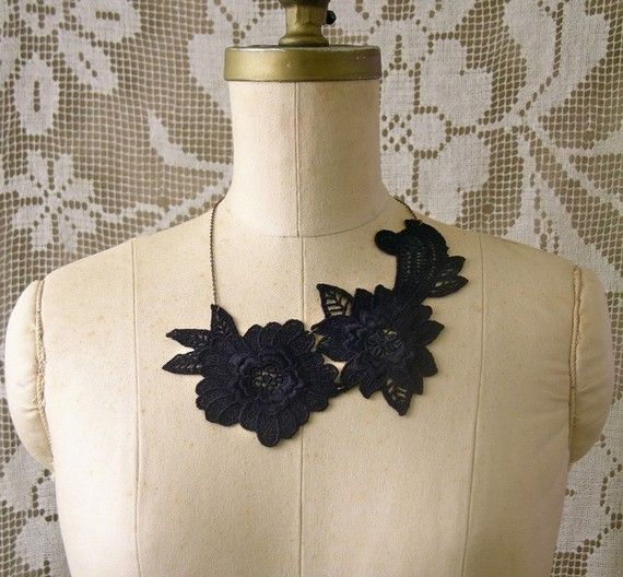 lace necklace SELMIN wedding necklace by whiteowl on Etsy, $29.00