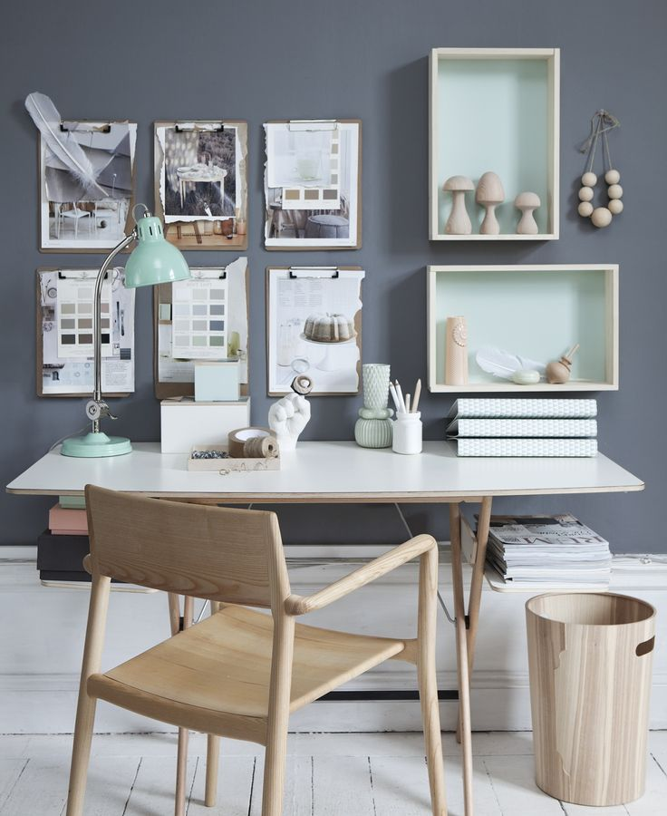 Mint+White+Grey Scandinavian Workplace