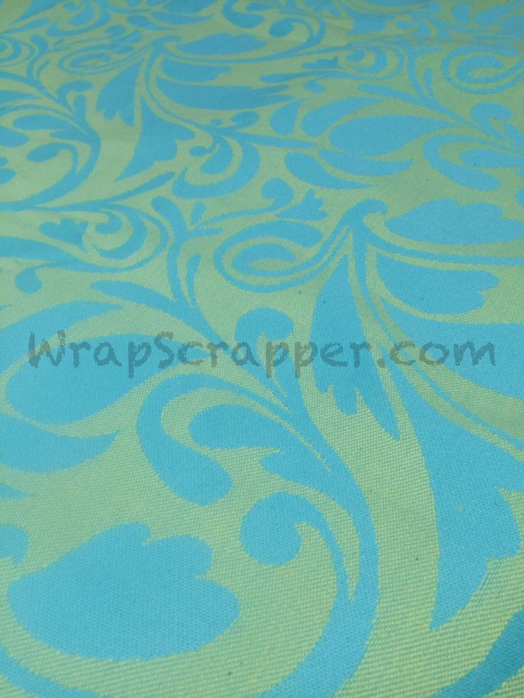Lenny Lamb Twisted Leaves Turquoise/Yellow Wrap Scrap