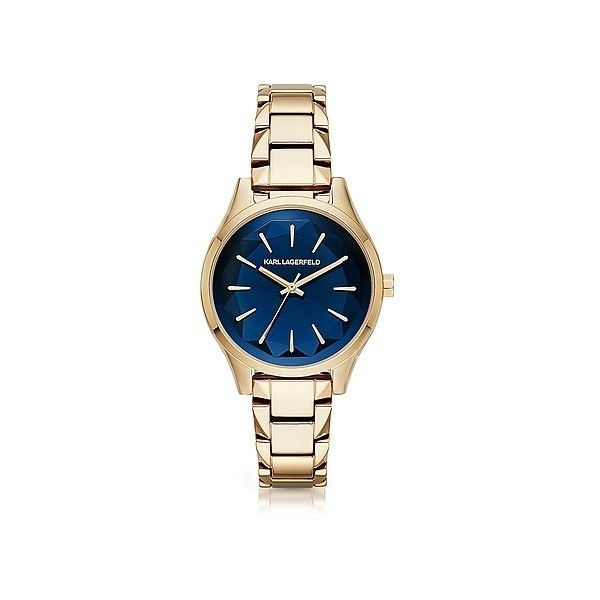 Karl Lagerfeld Women's Watches Janelle Gold-tone PVD Stainless Steel... (19.780 RUB) ❤ liked on Polyvore featuring jewelry, watches, gold, women's watches, stainless steel jewelry, karl lagerfeld, quartz watches, goldtone jewelry and karl lagerfeld jewelry