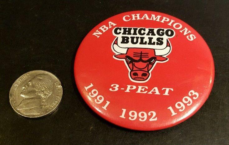 CHICAGO BULLS PIN BACK PIN BUTTON NBA CHAMPIONS 3-PEAT 1991 1992 1993
