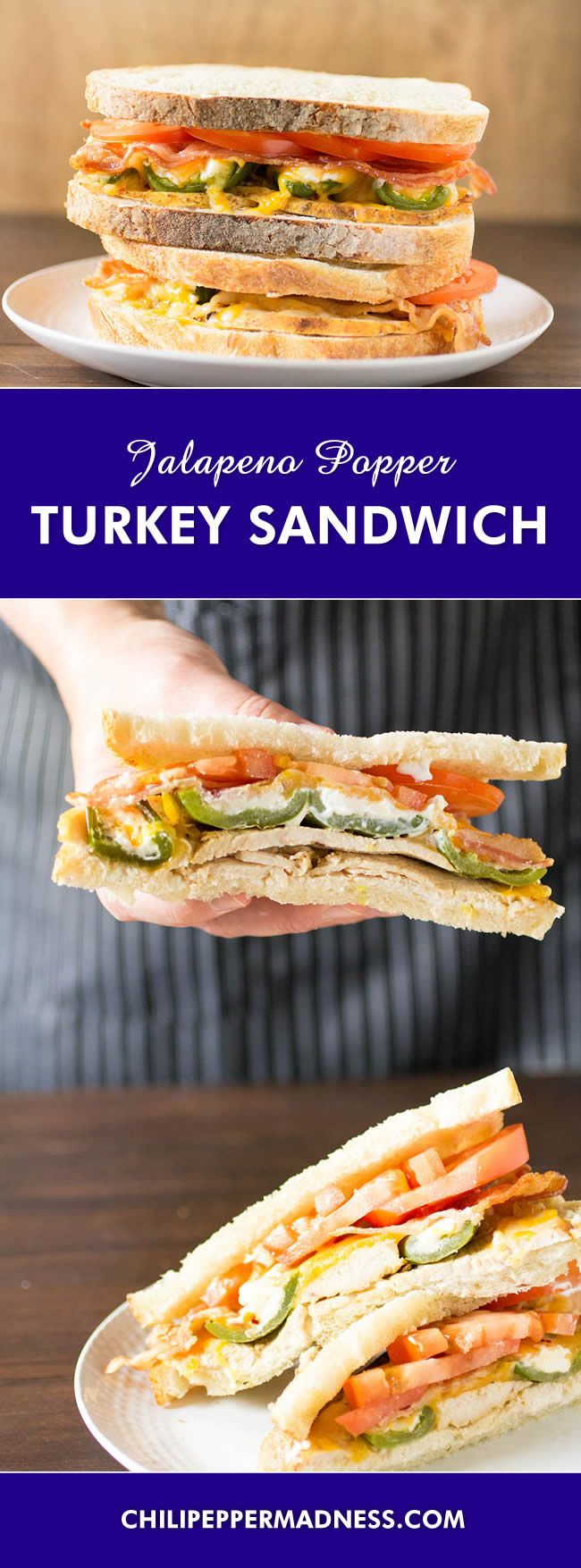 Cheesy Jalapeno Popper-Turkey Sandwiches - A tasty turkey sandwich recipe made with layers of cream cheese, oven roasted turkey, melted cheese, stuffed jalapeno poppers, bacon and tomato. Perfect for leftovers!