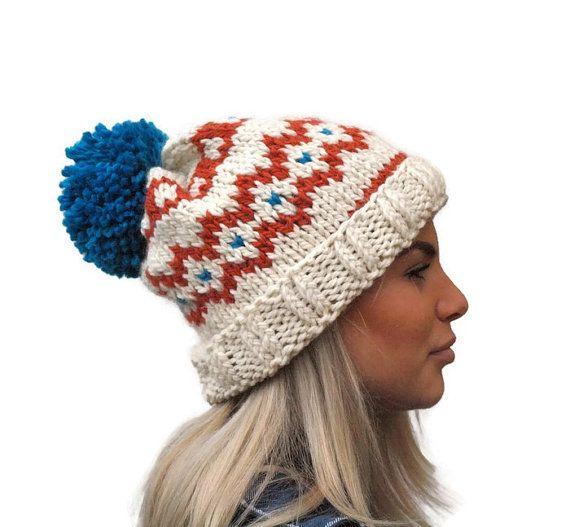 Knit hat, Fair isle hat, rolled brim hat, extra chunky woman hat, wool hat, winter accessory, warm hat with big pom pom