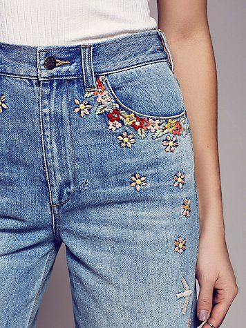 One of the easiest ways to incorporate embroidery into your wardrobe - jeans!