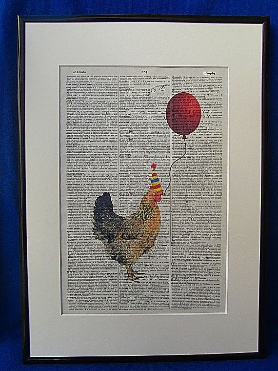 Party Time Chicken Wall Art Print by DecorisDesigns on Etsy