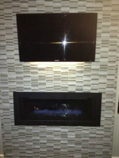 Glass Mosaic Tiled Fireplace Surround With Wall Mounted T