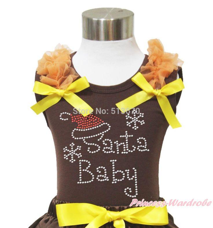 Рождество горный хрусталь Santa Baby печать оранжевый рюшами желтый с бантом девушка топ NB-8Y MATP0067