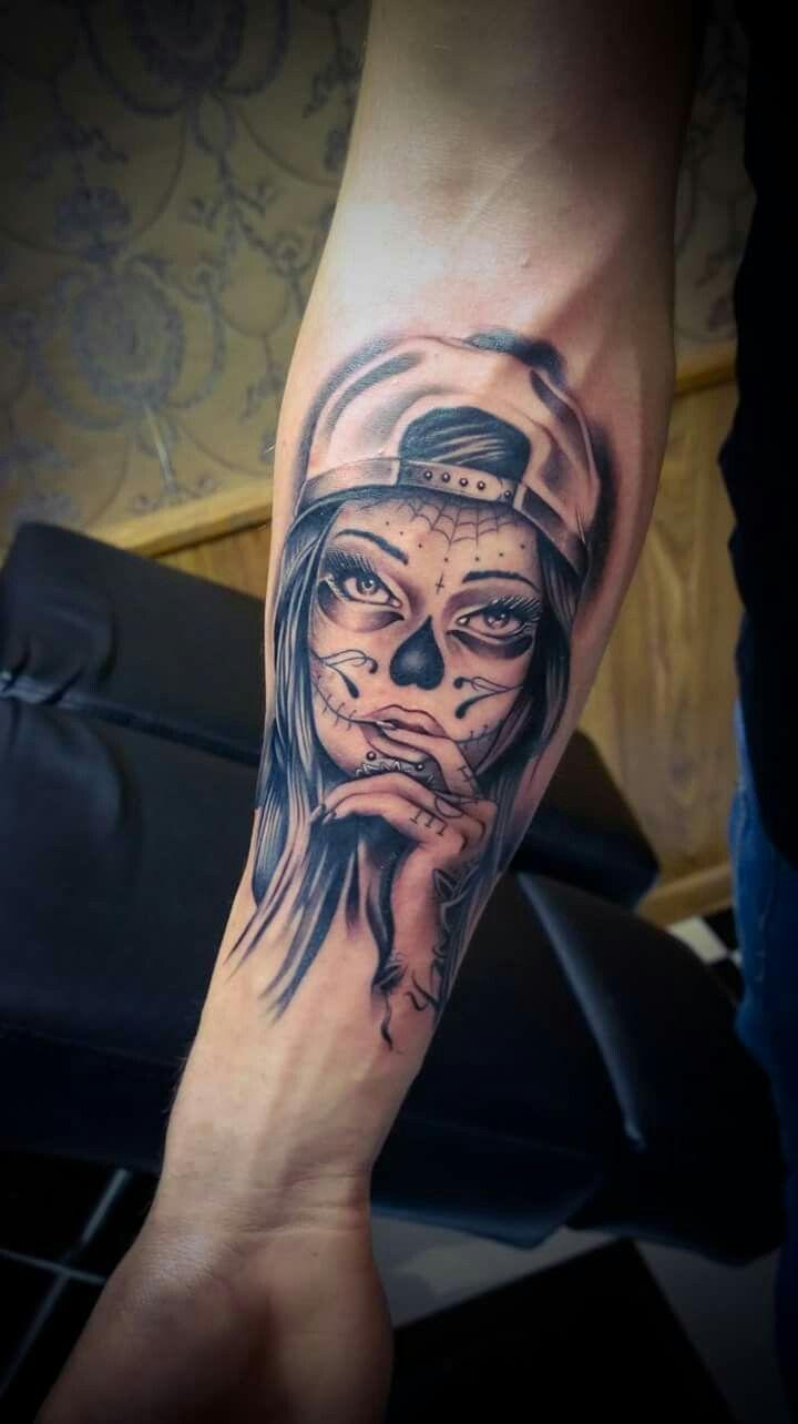 Happy#finish#tattoogirl#girl#catrina#santa#muerte# tattoo#arm#