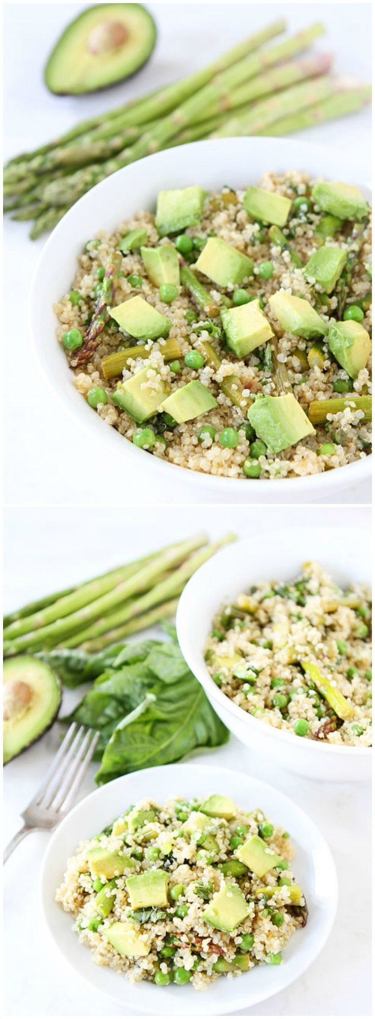 Spring Quinoa Salad Recipe on twopeasandtheirpod.com Quinoa salad with asparagus, peas, avocado, and a simple lemon basil dressing. We LOVE this healthy salad!
