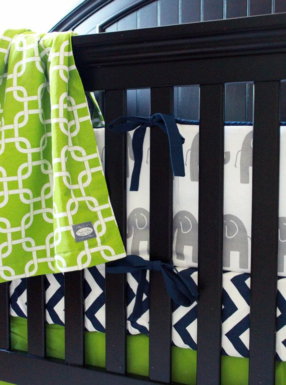 Boy Crib Bedding Set Elephant Theme Nursery Chevron Sheet Green And Navy Blue Skirt Geometric Blanket Per Pad Baby Number 2