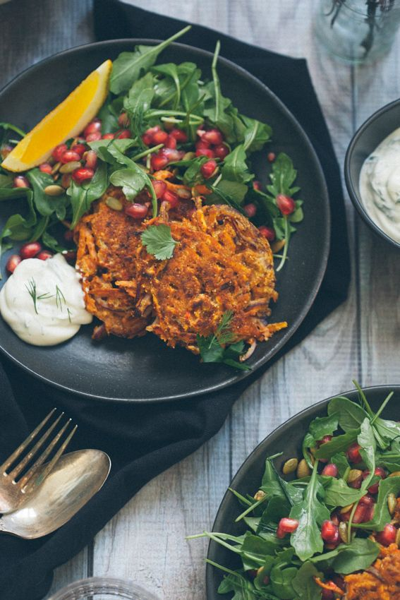 Sweet Potato Pancakes with Arugula Pomegranate Salad and Herbed Yogurt