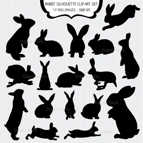 Easter bunny silhouette. Rabbit clip art set