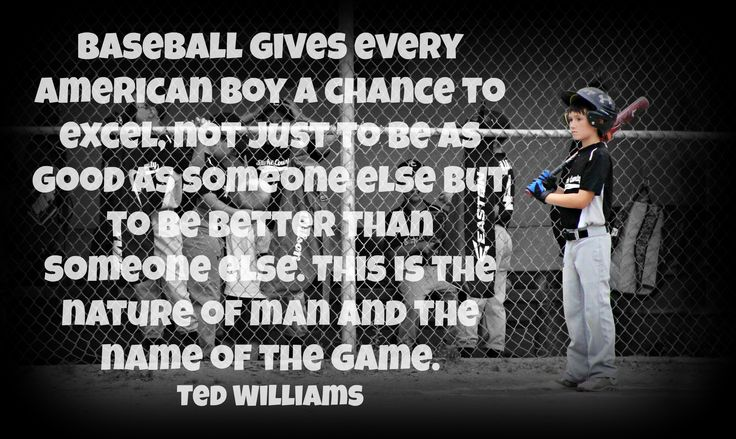 Baseball gives every American boy a chance to excel, not just to be as good as someone else but to be better than someone else. This is the nature of man and the name of the game. Ted Williams