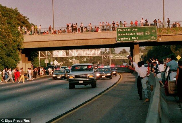 O. J. Simpson's Ford Bronco is followed by police in a two-hour chase after he failed to hand himself in for the alleged murders of his wife Nicole Simpson and her friend Ronald Goldman.