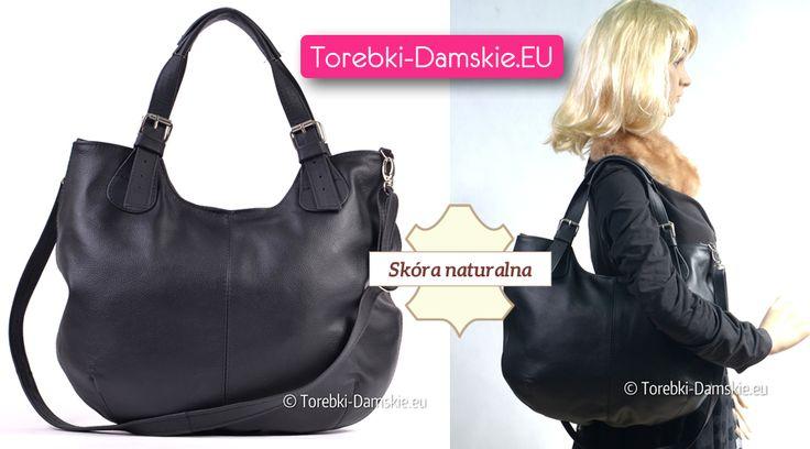 Czarna wersja torebki skórzanej w kształcie owalnym, mieszcząca A4 z regulowanymi uchwytami do noszenia na ramieniu lub w ręku i dopinanym paskiem