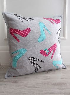 girly pillow high heeled shoes gray pink acqua polka dots 'created by BB'