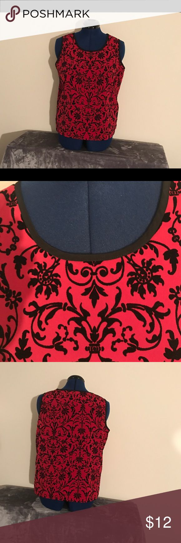 """susan graver/styles red/black sleeveless top, L This gorgeous susan graver/styles sleeveless top is a vibrant red with velvety black scrollwork front and back. Beautiful alone or under a blazer.  4"""" bottom side slits.  True to its Size Large.  Machine wash cold delicate.  Very good condition. Tops"""