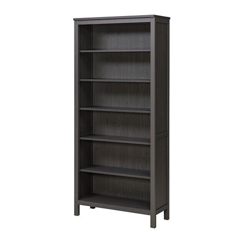 IKEA - HEMNES, Bookcase, dark gray stained, , Solid wood has a natural feel.The shelves are adjustable so you can customize your storage as needed.1 stationary shelf for high stability.You can hide multiple power strips, etc under the removable bottom shelf.Adjustable feet for stability on uneven floors.