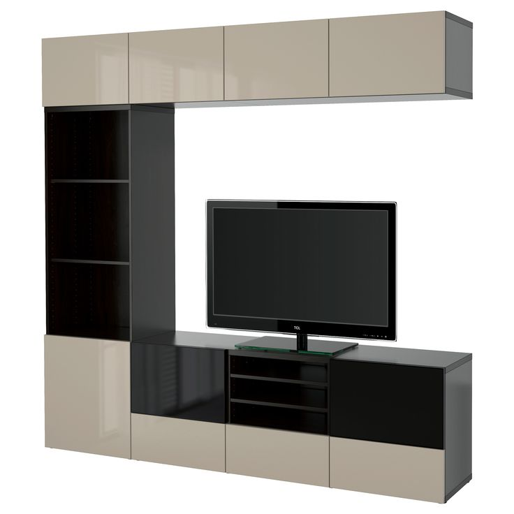 IKEA - BESTÅ, TV storage combination/glass doors, black-brown/Selsviken high gloss/beige smoked glass, drawer runner, soft-closing, , The drawers and doors close silently and softly, thanks to the integrated soft-closing function.You can control your electronic equipment with the doors closed, as the remote control works through the glass.The space-saving wall shelves make the most of the wall area above your TV.It's easy to keep the cords from your TV and other devices out of...