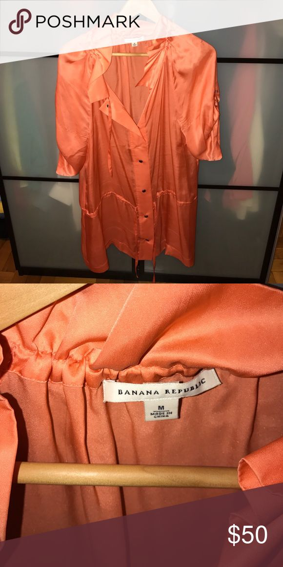 Banana Republic Womens Shirtdress Size M Gorgeous coral color !! Perfect with leggings or jeans ! Or shorts underneath Banana Republic Dresses Midi