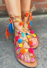 Donna Scarpe, Lacci Sandali, legare Sandali, Boemo flat gladiator sandals