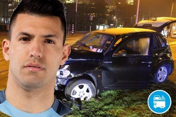 L'attaccante argentino del Manchester City era volato in Olanda per assistere al concerto di un amico. Di ritorno all'aeroporto il suotaxi si schianta contro un palo. Probabili 2 mesi di stop!...