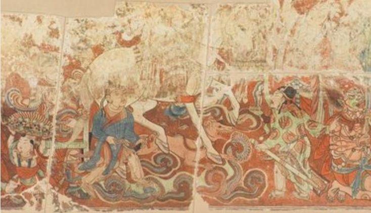 Bezeklik fresco, south wall of the main building, Temple No. 9, Tarim Basin, Central Asia