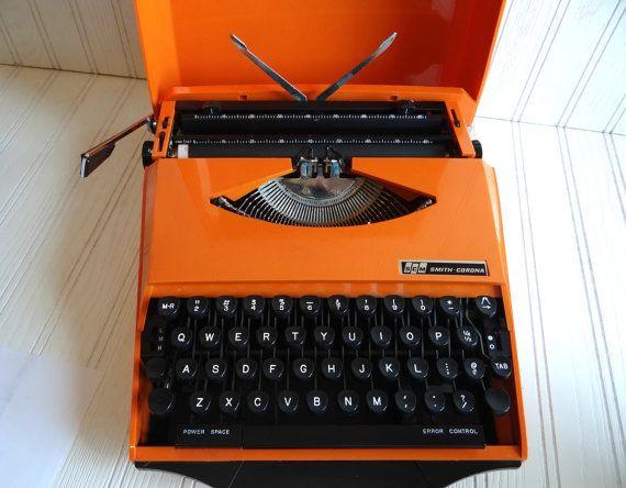 Vintage Orange Smith Corona Karmann Ghia Super G Portable Typewriter 1970s With…