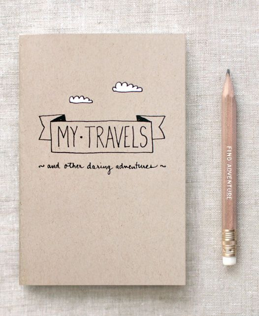 Travel Journal & Gold Foil Pencil Set | Gift this to your travelling friends, for them to keep a diary of all the places they visited while on vacation!